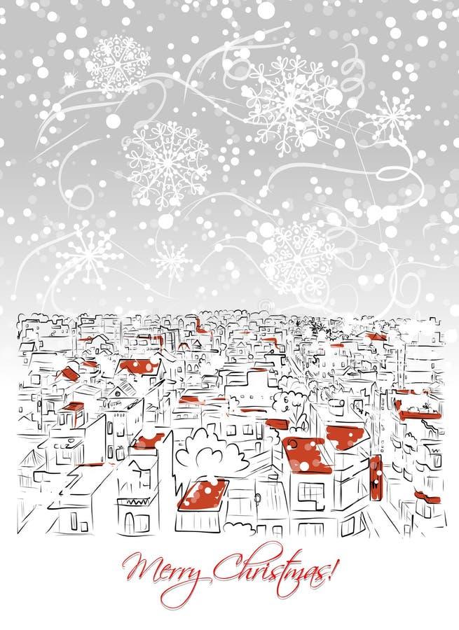 Cartão do Feliz Natal com fundo da arquitetura da cidade ilustração royalty free
