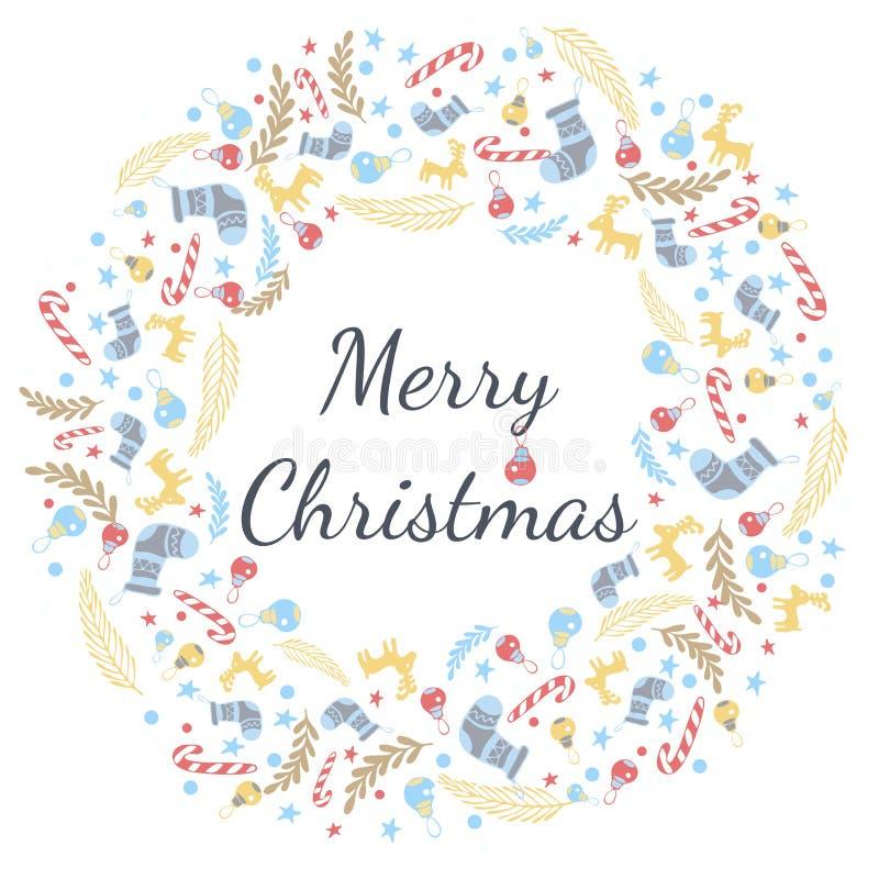 Cartão do Feliz Natal com grinalda, fundo do vintage com tipografia e elementos - peúga, abeto vermelho, abeto, pirulito, estrept ilustração stock