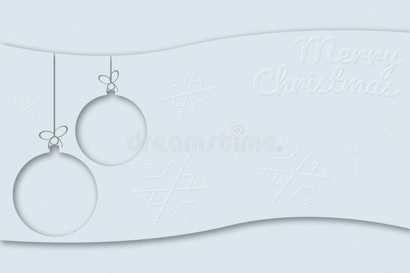 Cartão do Feliz Natal com o aga das bolas e dos flocos de neve do Xmas ilustração do vetor
