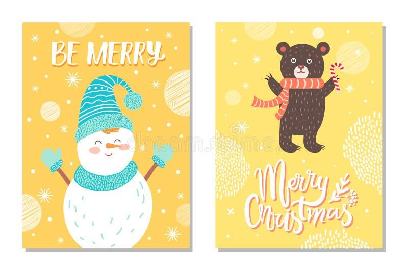 Cartão do Feliz Natal com o cartão de sorriso do boneco de neve ilustração royalty free