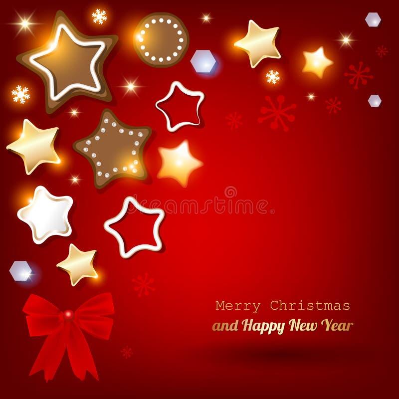 Cartão do Feliz Natal com pão-de-espécie & cookies em um fundo vermelho ilustração royalty free