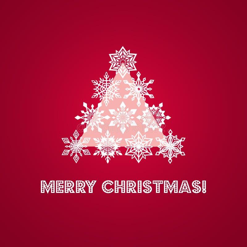 Cartão do Feliz Natal com palavras e ilustração do vetor