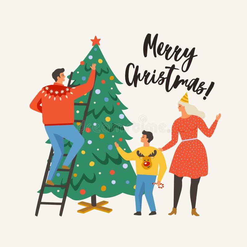 Cartão do Feliz Natal com povos Família que decora uma árvore de abeto Coleção do cartaz do inverno do Xmas ilustração royalty free