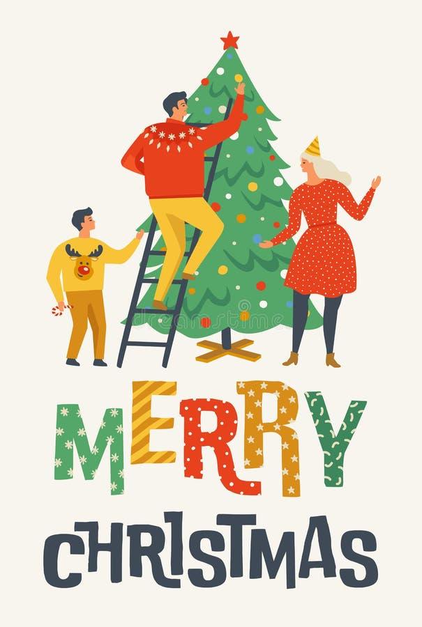Cartão do Feliz Natal com povos Família que decora uma árvore de abeto Coleção do cartaz do inverno do Xmas ilustração stock