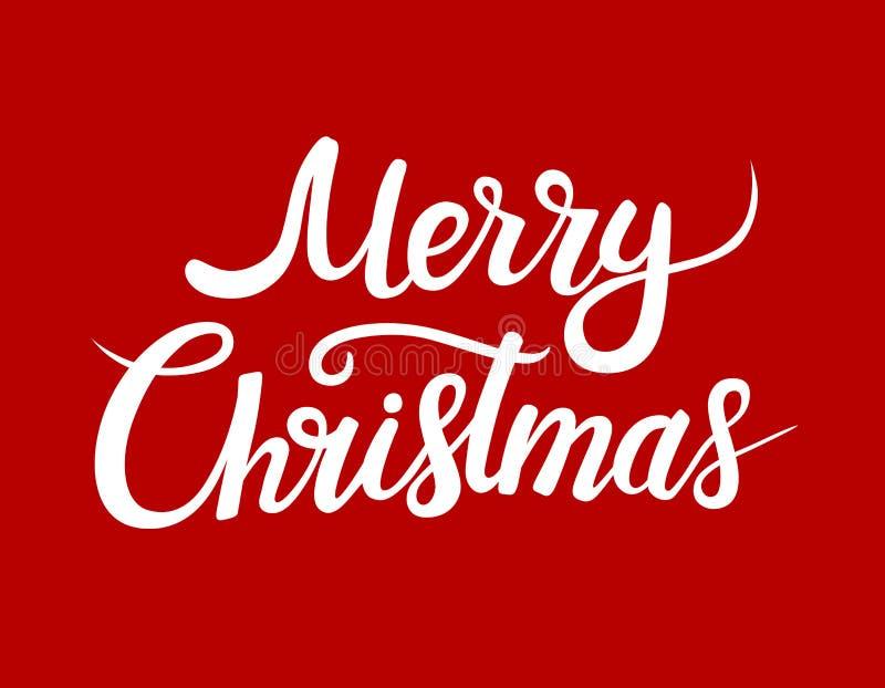 Cartão do Feliz Natal com rotulação branca Rotulação do vetor para bandeiras ou cartão em um fundo vermelho Mão caligráfica ilustração do vetor