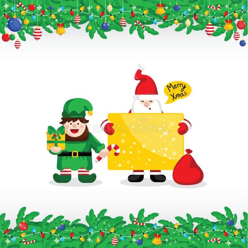 Cartão do Feliz Natal com Santa Claus ilustração royalty free