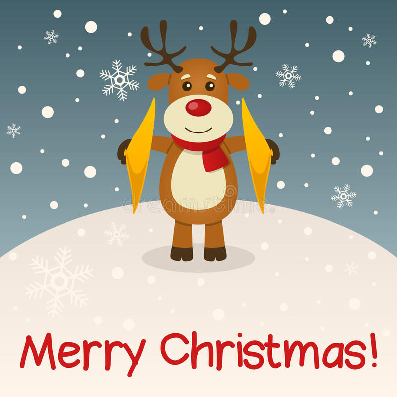 Cartão do Feliz Natal da rena ilustração royalty free
