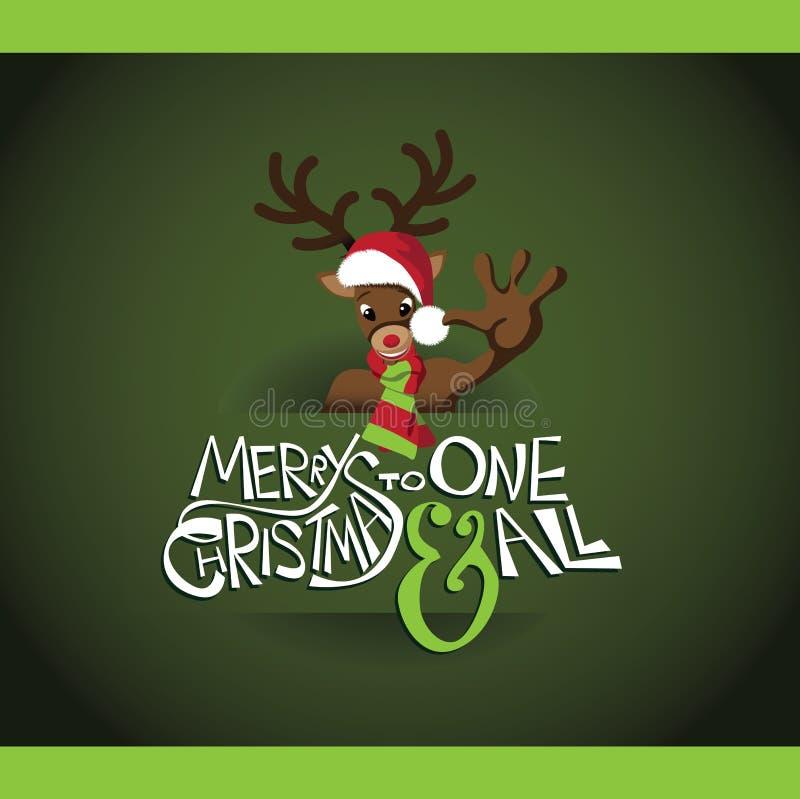 Cartão do Feliz Natal da rena dos desenhos animados ilustração do vetor
