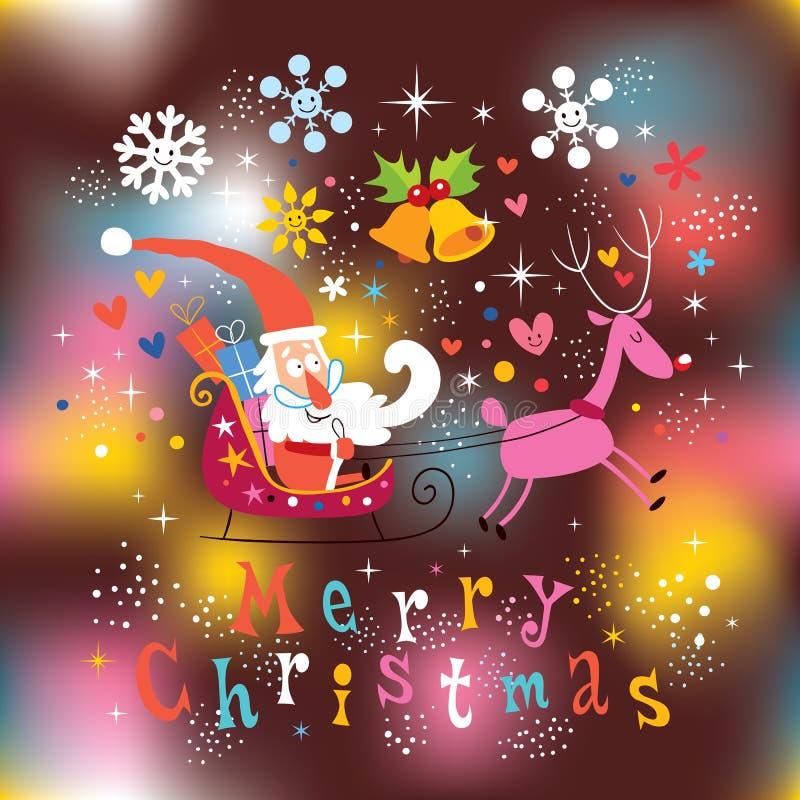 Cartão do Feliz Natal de Santa e de rena ilustração royalty free