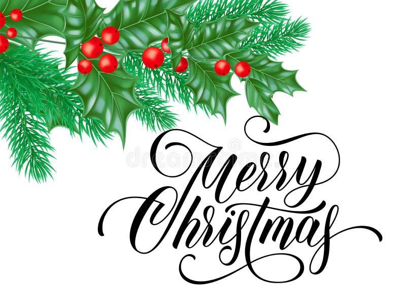 Cartão do Feliz Natal de santamente no fundo do branco da neve Projeto de rotulação do texto do desejo da caligrafia do feriado d ilustração royalty free