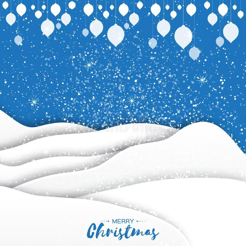 Cartão do Feliz Natal do origâmi Paisagem de papel do Xmas do entalhe ilustração royalty free