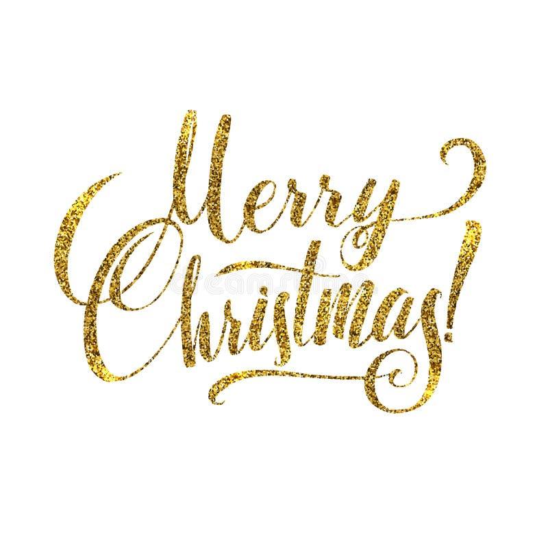 Cartão do Feliz Natal do ouro Brilho brilhante dourado Cartaz Tamplate do cumprimento da caligrafia Fundo branco isolado ilustração royalty free