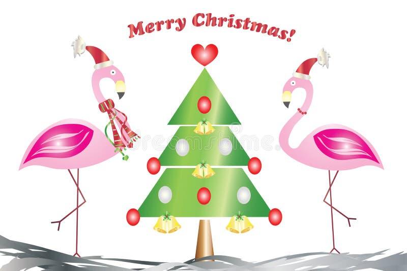 Cartão do Feliz Natal - dois flamingos no amor com o vetor da árvore de Natal ilustração do vetor
