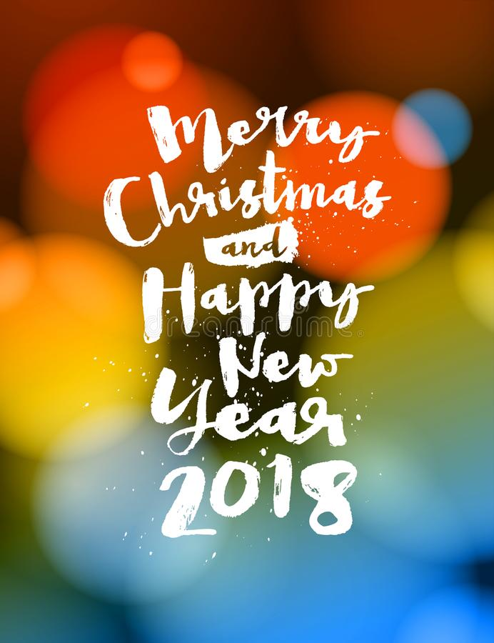 Cartão 2018 do Feliz Natal e do ano novo feliz ilustração do vetor