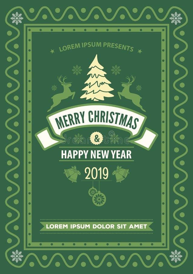 Cartão do Feliz Natal e do ano novo feliz ilustração do vetor