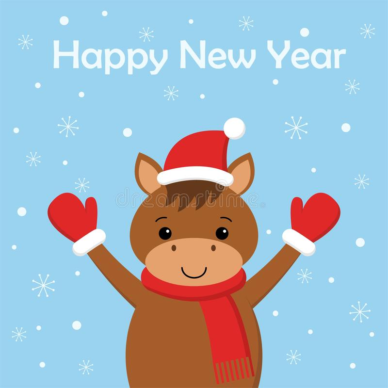 Cartão do Feliz Natal e do ano novo feliz com cavalo engraçado ilustração royalty free