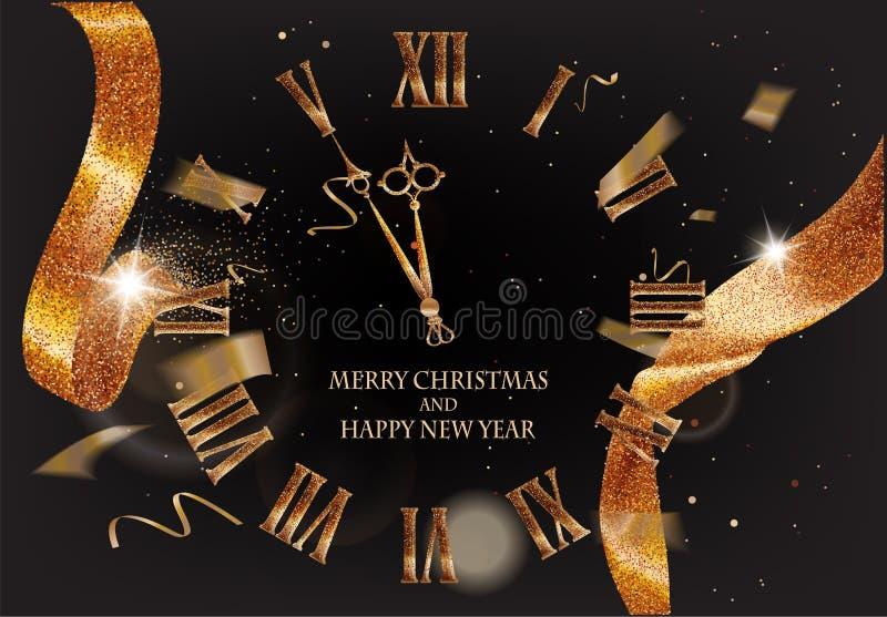 Cartão do Feliz Natal e do ano novo com a fita efervescente do ouro, confetes de voo e o relógio bonito ilustração stock