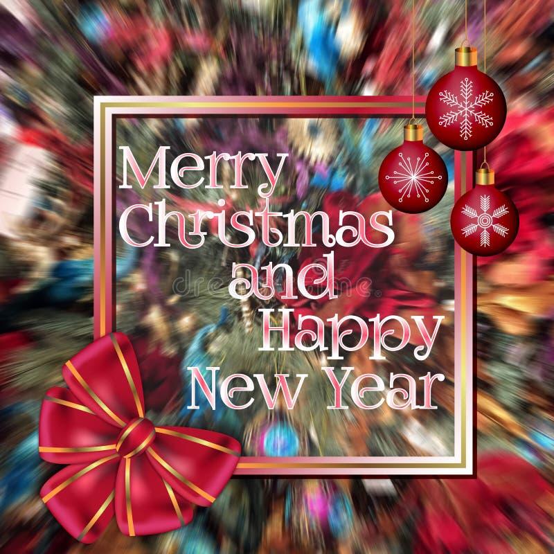 Cartão do Feliz Natal e do ano novo feliz decorado com curva e as bolas vermelhas do Natal no fundo colorido borrado ilustração do vetor