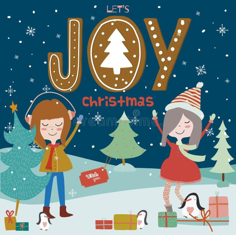 Cartão do Feliz Natal e do ano novo com meninas de sorriso ilustração do vetor