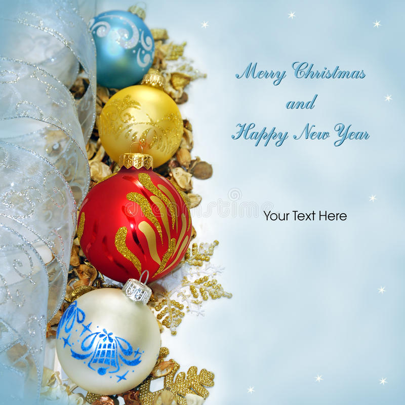Cartão do Feliz Natal e do ano novo feliz fotografia de stock