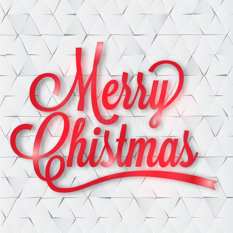 Cartão do Feliz Natal no papel ilustração stock