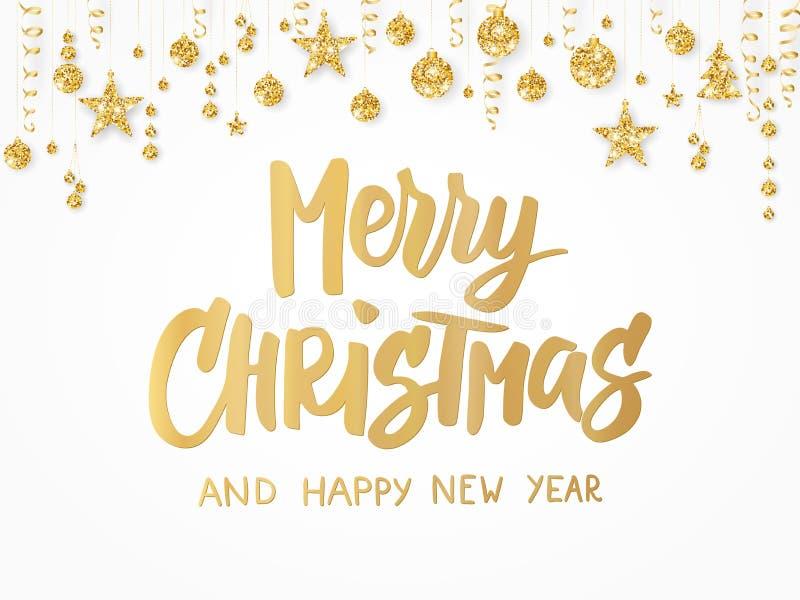 Cartão do Feliz Natal Rotulação tirada mão Beira dourada do brilho com bolas, as estrelas e as fitas de suspensão Grande para o p ilustração stock