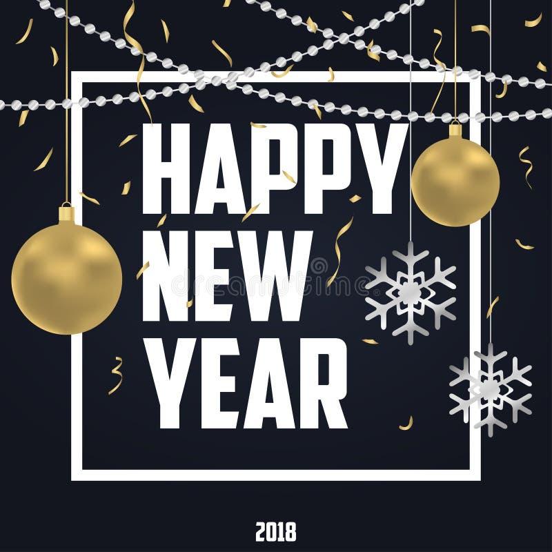 Cartão do feriado do ano novo com as bolas do Natal do ouro e flocos de neve de prata, confetes dourados e grânulos argentos Ilus ilustração stock