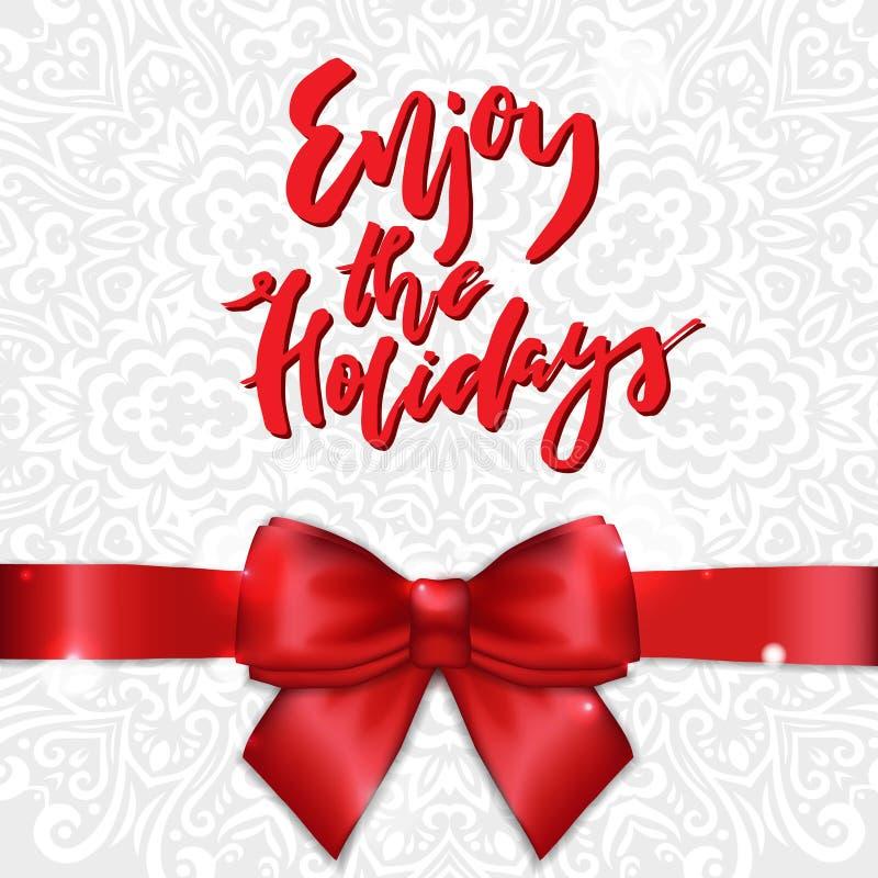 Cartão do feriado com fita e curva do cetim A caligrafia aprecia os feriados ilustração stock