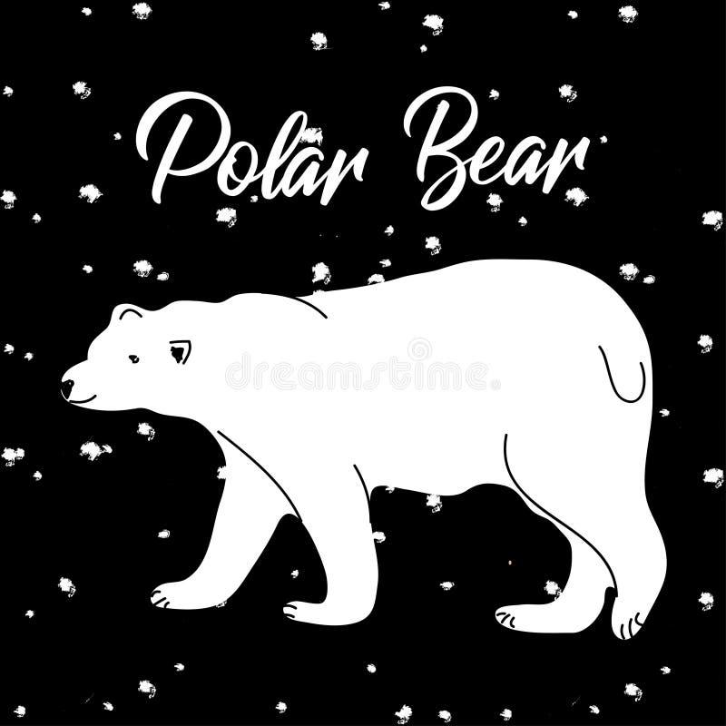 Cartão do feriado com o urso polar bonito no fundo preto ilustração do vetor