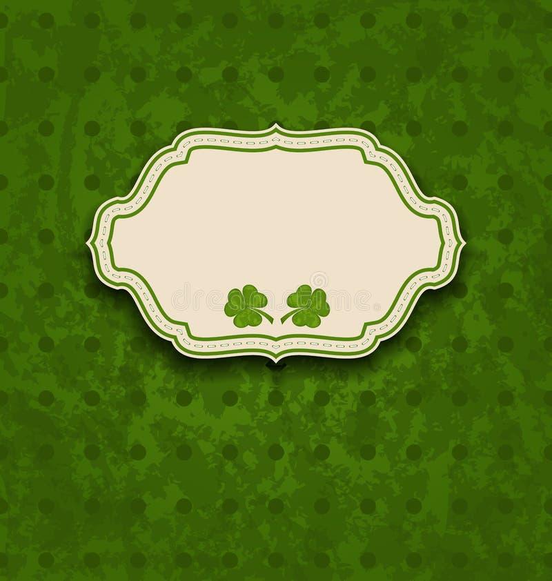 Cartão do feriado com os trevos para o dia de St Patrick ilustração royalty free