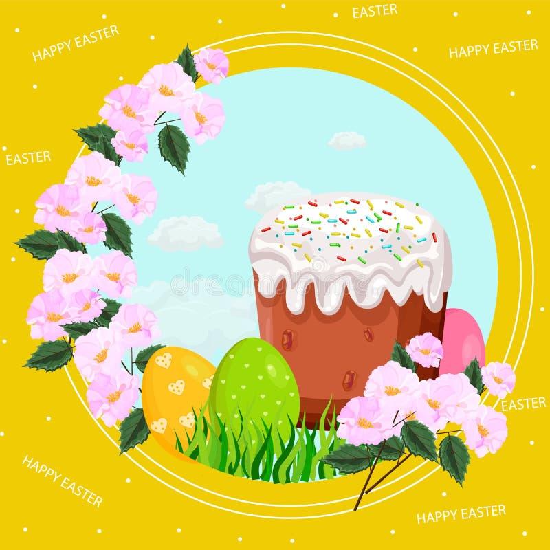 Cartão do feriado da Páscoa com ovos e vetor doce do pão ilustração stock