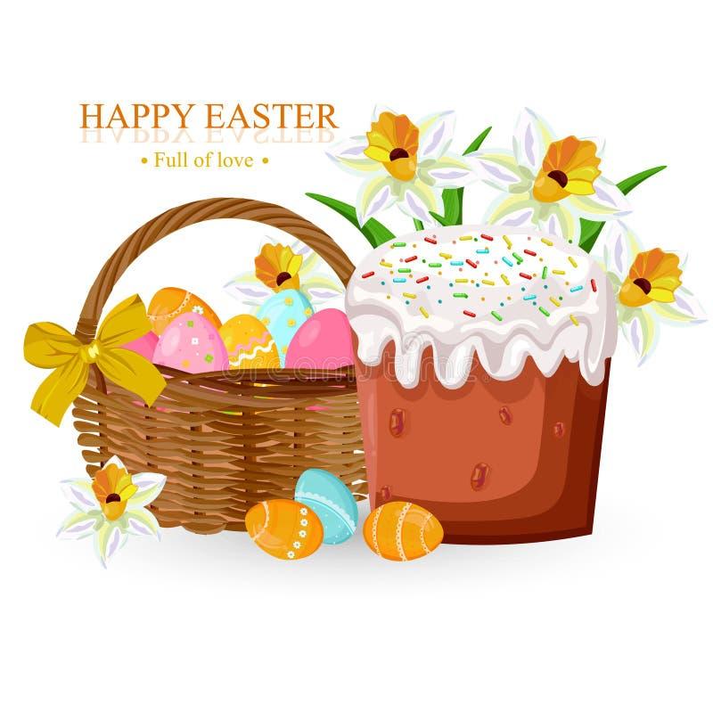Cartão do feriado da Páscoa com ovos e vetor doce do pão ilustração royalty free
