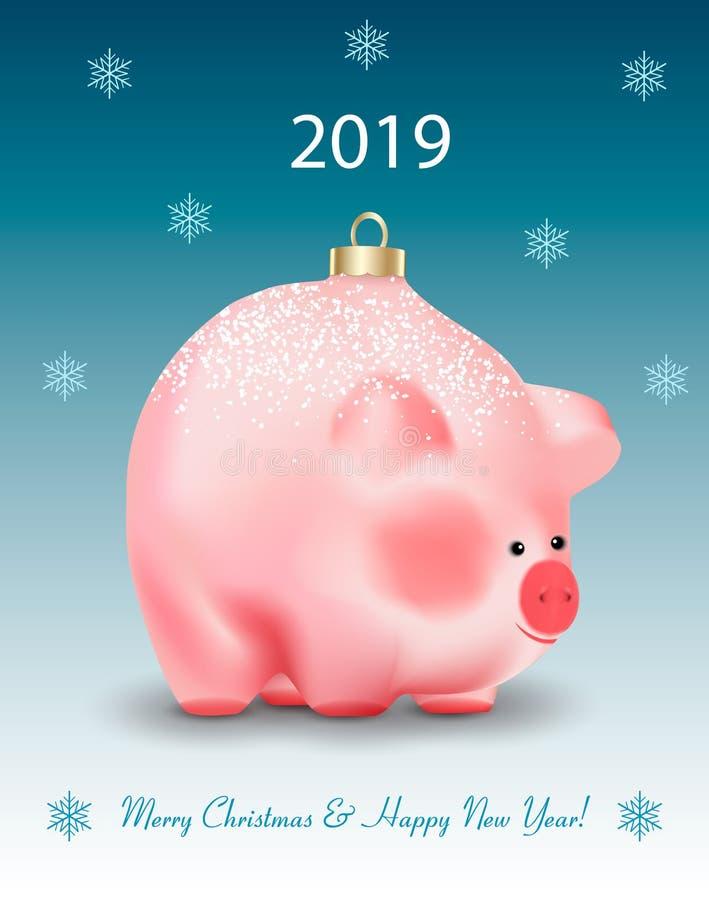 Cartão do feriado de inverno com cumprimentos Brinquedo do ot da quinquilharia do Natal um porco bonito um símbolo chinês do ano  ilustração stock