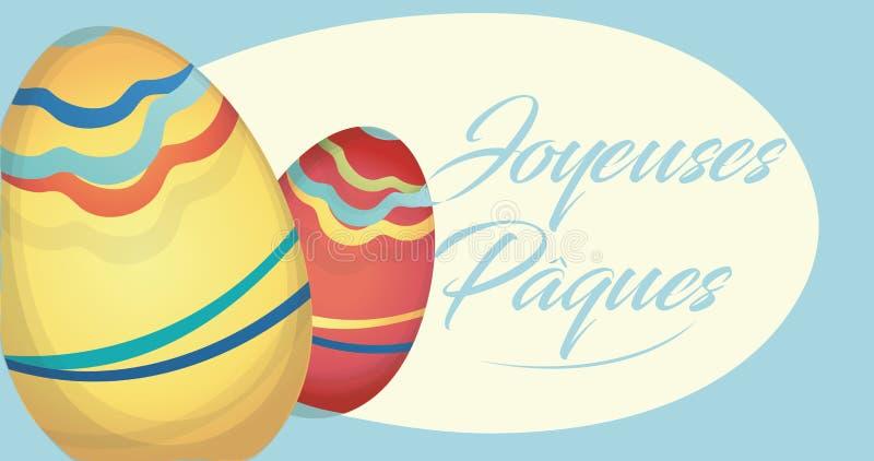 Cartão do feriado de Joyeuses Pâques com ovos ilustração royalty free