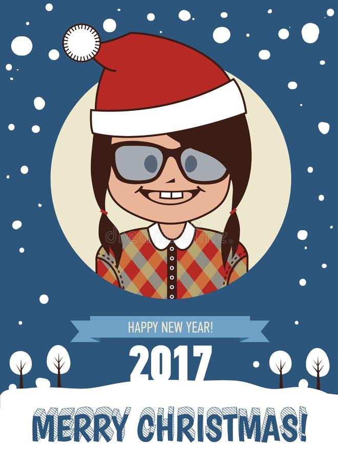 Cartão do feriado do feriado postcard Cartão do Feliz Natal e do ano novo feliz 2017 ilustração royalty free