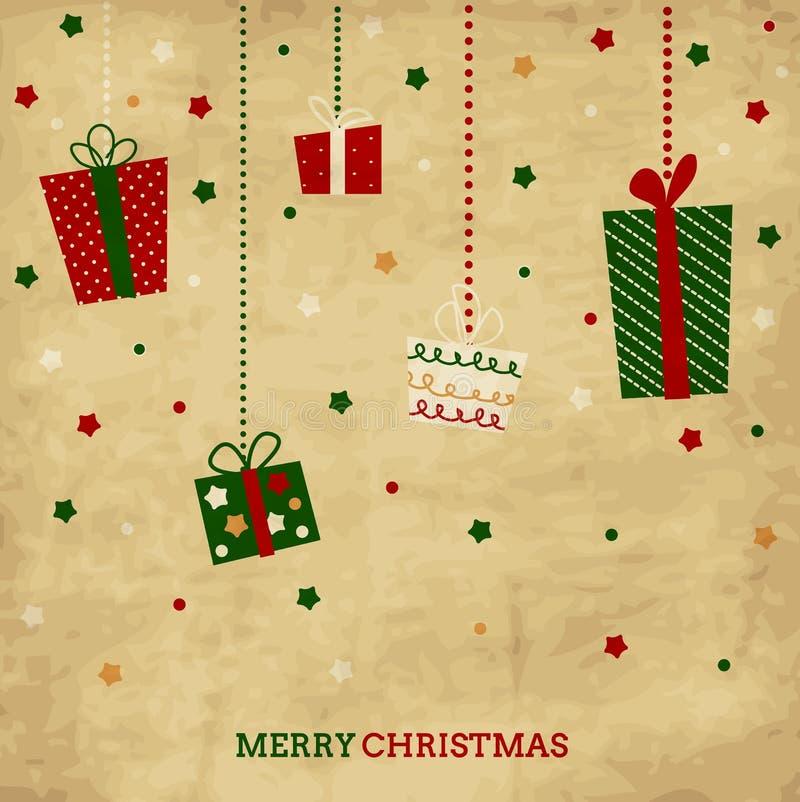 Cartão do feriado do Natal do vintage e do ano novo com p ilustração do vetor