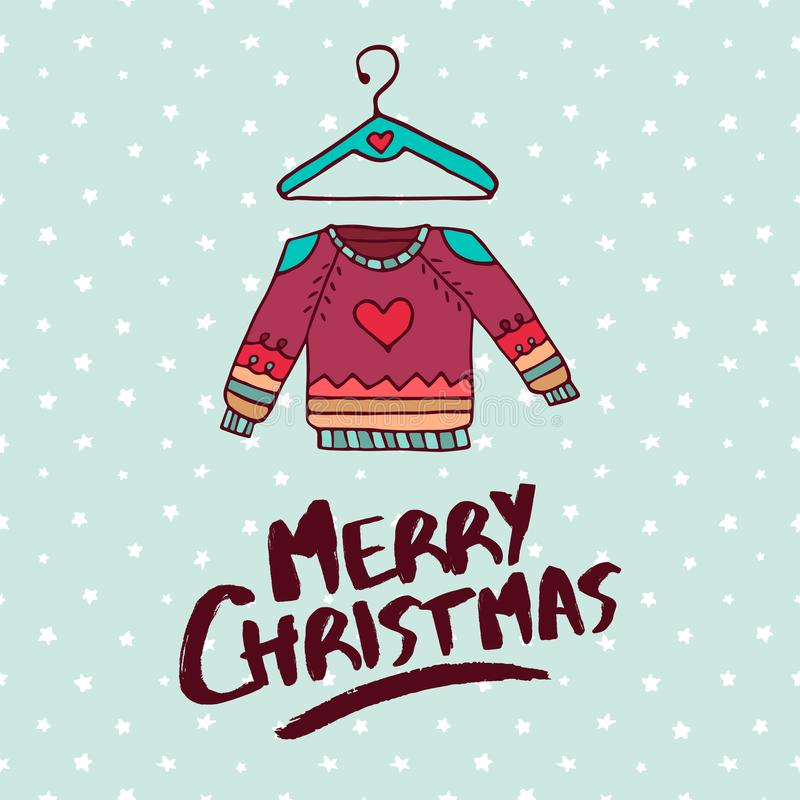 Cartão do feriado dos desenhos animados da forma da camiseta do Natal ilustração royalty free