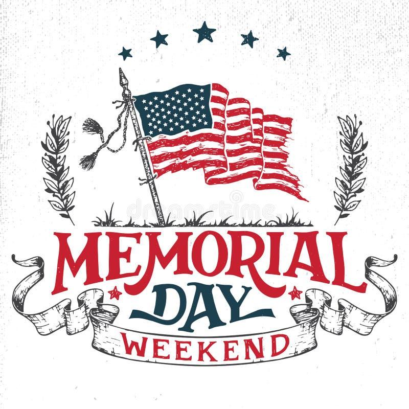 Cartão do fim de semana de Memorial Day ilustração do vetor
