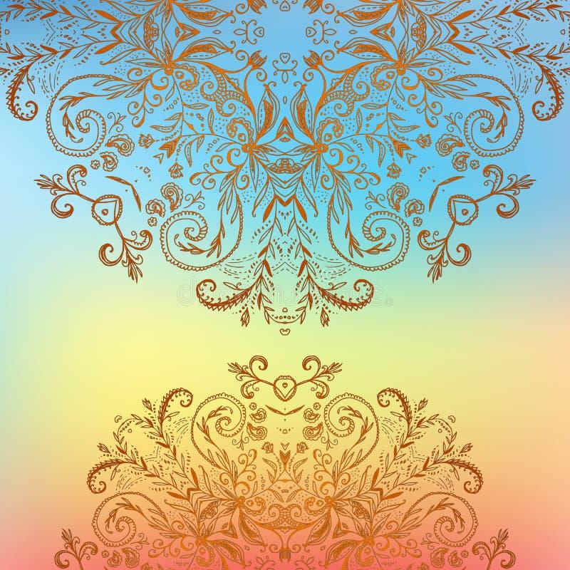 Cartão do fundo da mandala do ornamento floral do arco-íris ilustração royalty free