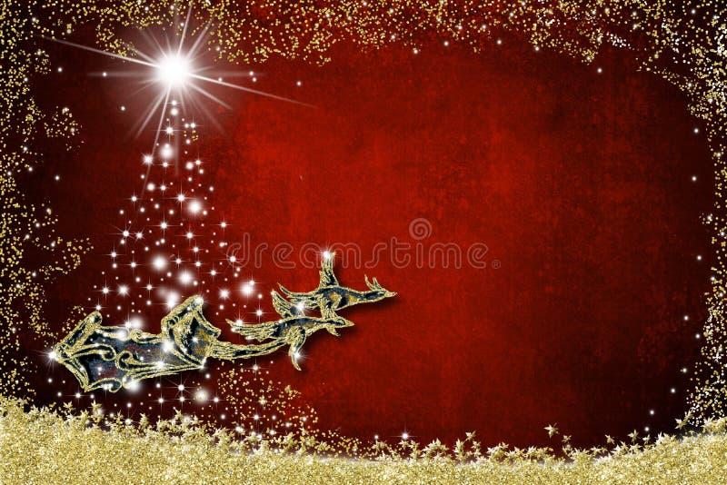 Cartão do fundo do Natal Trenó de Santa Claus ilustração royalty free