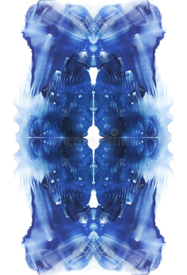 Cartão do fundo vertical simétrico da abstração do teste da mancha de tinta do rorschach Imagem azul da aquarela ilustração royalty free