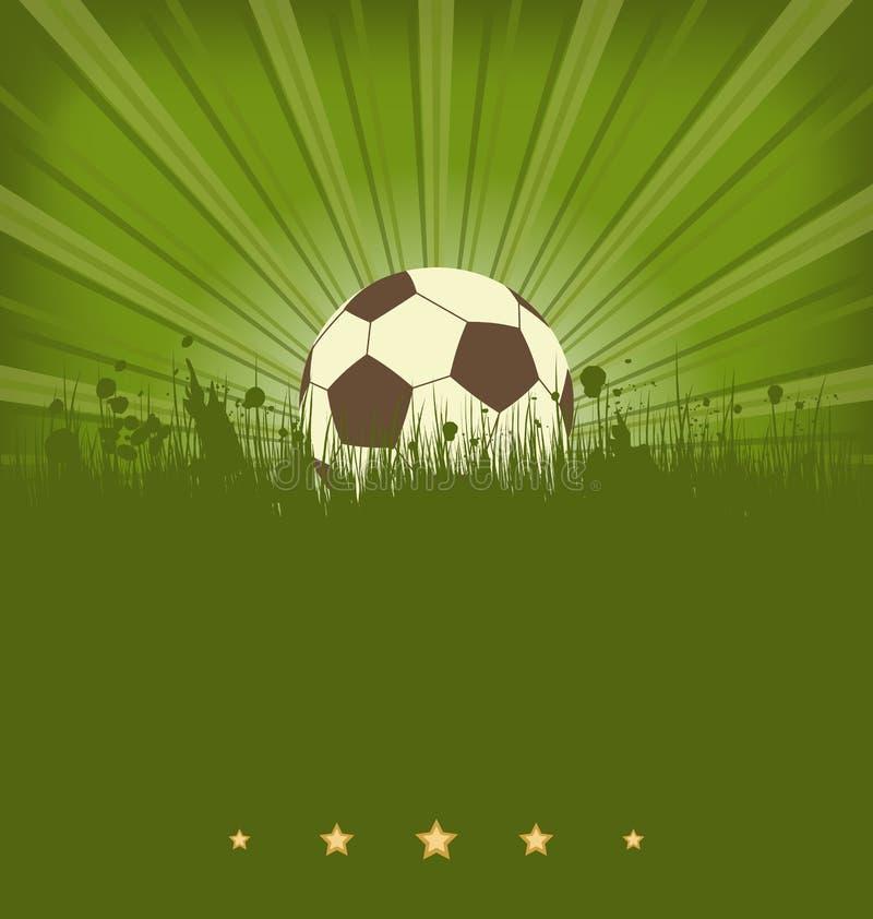 Cartão do futebol do vintage com a bola na grama ilustração stock