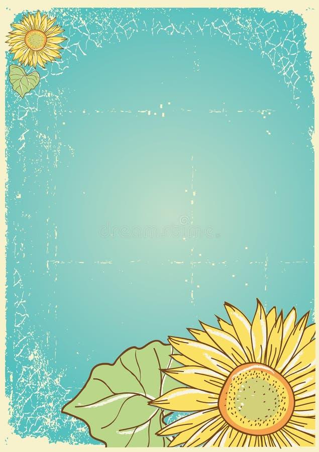 Cartão do girassol ilustração do vetor