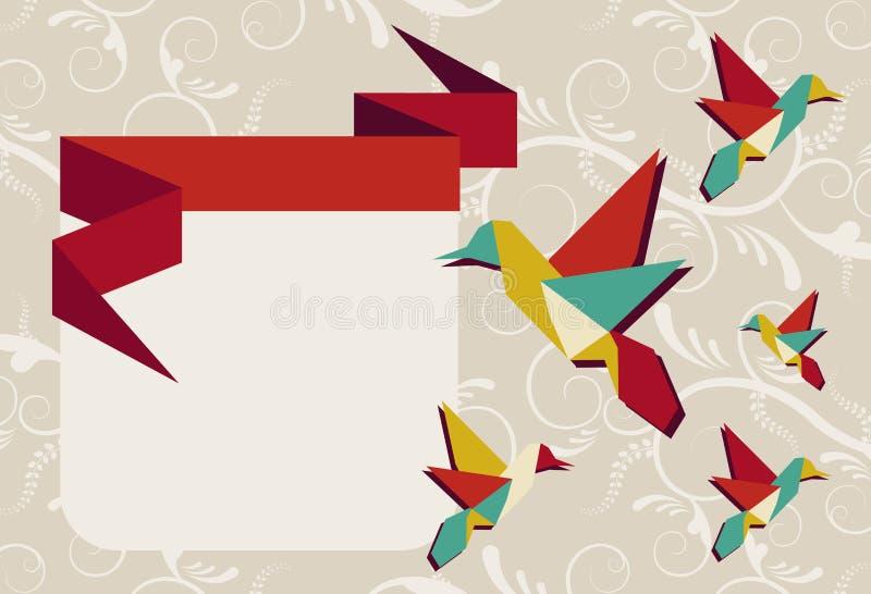 Cartão do grupo do colibri de Origami ilustração royalty free