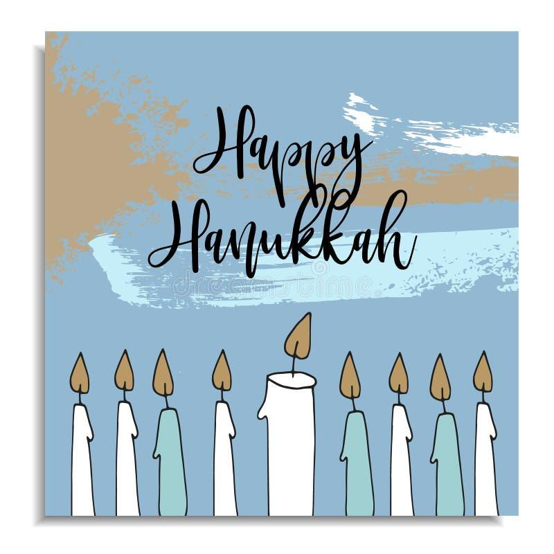 Cartão do Hanukkah com velas tiradas mão do castiçal do menorah Ilustração do vetor, fundo artístico com ilustração royalty free