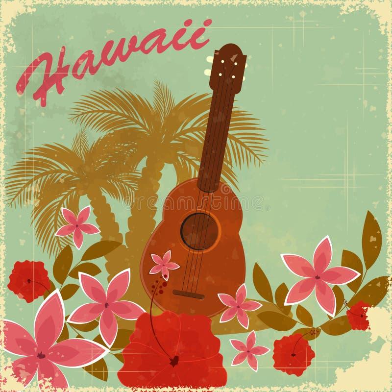 Cartão do Hawaiian do vintage ilustração stock