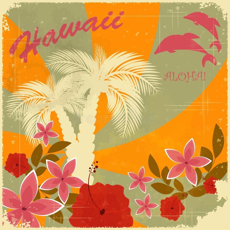 Cartão do Hawaiian do vintage ilustração do vetor
