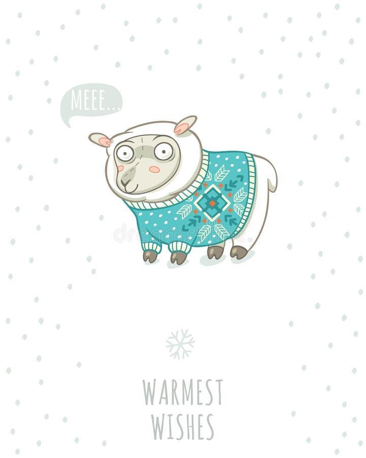 Cartão do inverno com os carneiros bonitos na camiseta feita malha ilustração stock