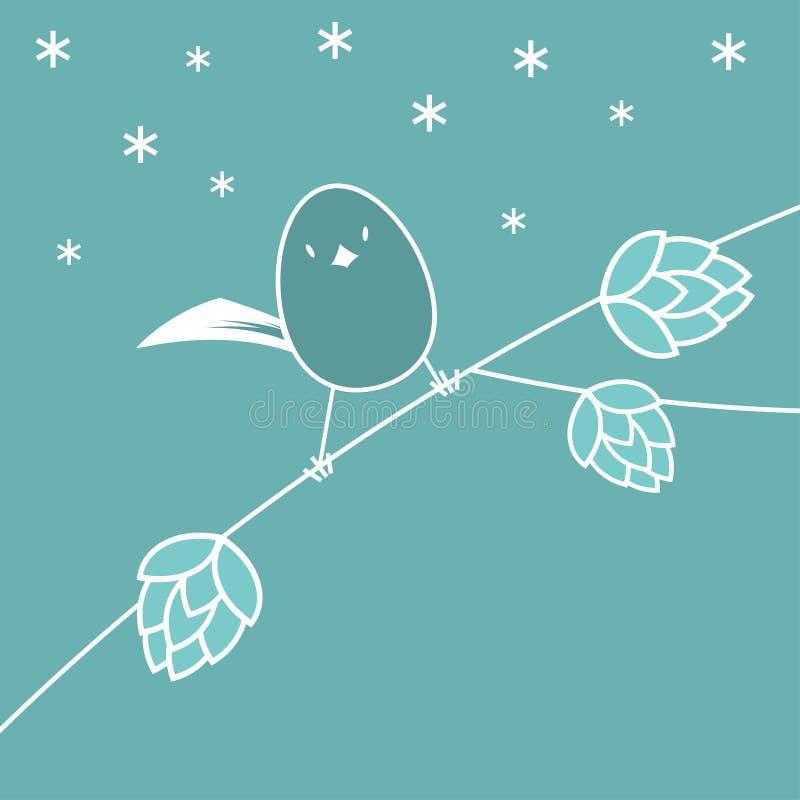 Cartão do inverno com pássaro ilustração royalty free