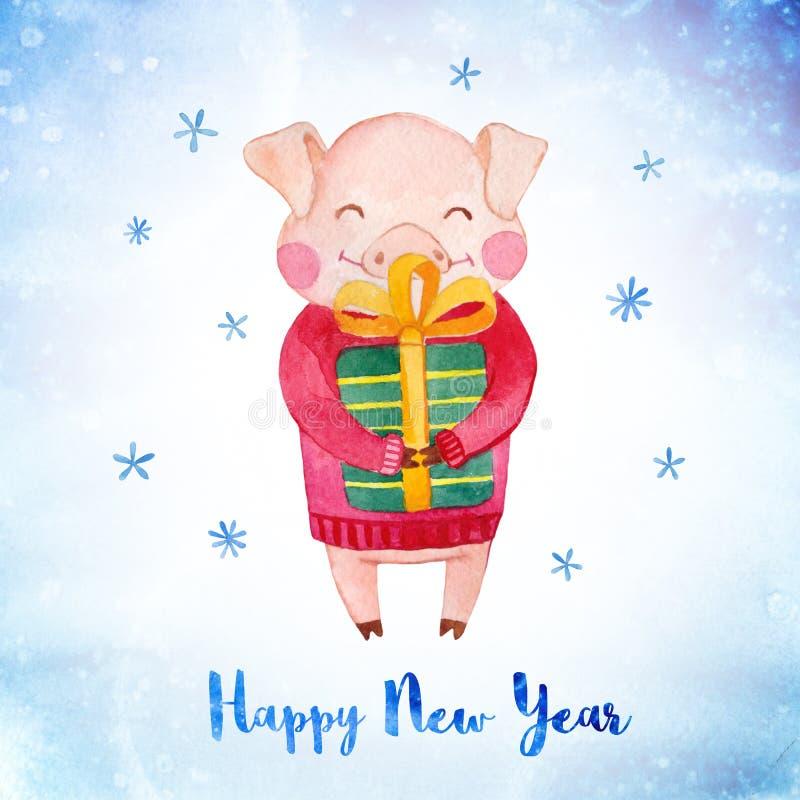 Cartão do inverno da aquarela com porco bonito e caixa de presente ilustração stock